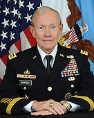 """United States Army General Martin E. Dempsey was sworn-in as the 18th Chairman of the Joint Chiefs of Staff on October 1, 2011 after serving as the Army's 37th Chief of Staff from April 11, 2011 through September 7, 2011. Past assignments have taken him and his family across the globe during both peace and war from Platoon Leader to Combatant Commander.  He is a 1974 graduate of the United States Military Academy and a career armor officer. As a company grade officer, he served with the 2nd Cavalry in United States Army Europe and with the 10th Cavalry at Fort Carson.  Following troop command he earned his Masters of Arts in English from Duke University and was assigned to the English Department at West Point.   In 1991, Gen. Dempsey deployed with the Third Armored Division in support of OPERATION DESERT STORM.  Following DESERT STORM, he commanded 4th Battalion 67th Armor (Bandits) in Germany for two years and then departed to become Armor Branch Chief in US Army Personnel Command.  From 1996-1998 he served as the 67th Colonel of the Third Armored Cavalry Regiment.  Following this assignment as the Army's """"senior scout"""" he served on the Joint Staff as an Assistant Deputy Director in J-5 and as Special Assistant to the Chairman of the Joint Chiefs of Staff. From September 2001 to June 2003, General Dempsey served in the Kingdom of Saudi Arabia training and advising the Saudi Arabian National Guard.  In June of 2003, General Dempsey took command of the 1st Armored Division in Baghdad, Iraq.  After 14 months in Iraq, General Dempsey redeployed the division to Germany and completed his command tour in July of 2005.  He then returned to Iraq for two years in August of 2005 to train and equip the Iraqi Security Forces as Commanding General of MNSTC-I.  From August 2007 through October 2008, GEN Dempsey served as the Deputy Commander and then Acting Commander of U.S. Central Command.  Before becoming Chief of Staff of the Army, he commanded US Army Training and Do"""