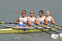 Amsterdam, NETHERLAND, GBR M4X. Bow. Oliver LEE, Stewart INNES, Jack HOCKLEY and John COLLINS.  2011 FISA U23 World Rowing Championships, {dow], {date} [Mandatory credit:  Intersport Images].