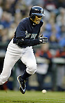.Seattle Mariners' Ichiro Suzuki tries to beat out a grounder hit against the  Detroit Tigers with bases loaded in the third inning at Safeco Field, Friday April 21, 2006 in Seattle. Ichiro was thrown out at first by the catcher Vance Wilson ending the inning. Jim Bryant Photo. ©2010. ALL RIGHTS RESERVED..