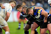 The Bath Rugby front row of Shaun Knight, Tom Dunn and Nick Auterac prepare to scrummage. Aviva Premiership match, between Bath Rugby and Exeter Chiefs on December 31, 2016 at the Recreation Ground in Bath, England. Photo by: Patrick Khachfe / Onside Images