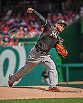 28 September 2014: Miami Marlins starting pitcher Henderson Alvarez on the mound against the Washington Nationals for the last game of the regular season at Nationals Park in Washington, DC. The Nationals shut out the Marlins with a 1-0 no-hitter going to Nationals pitcher Jordan Zimmermann. Mandatory Credit: Ed Wolfstein Photo *** RAW (NEF) Image File Available ***