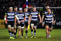 The Bath Rugby pack look on during a break in play. Aviva Premiership match, between Bath Rugby and Newcastle Falcons on March 18, 2016 at the Recreation Ground in Bath, England. Photo by: Patrick Khachfe / Onside Images