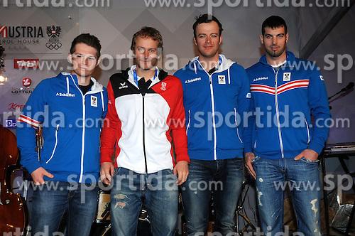 13.02.2014, Austria Tirol House, Krasnaya Polyana, RUS, Sochi, 2014, im Bild SKI CROSS TEAM HERREN<br /> WAHRST&Ouml;TTER ZANGERL KOLLER MATT // SKI CROSS TEAM HERREN<br /> WAHRST&Ouml;TTER ZANGERL KOLLER MATT during the Olympic Winter Games Sochi 2014 at the Austria Tirol House in Krasnaya Polyana, Russia on 2014/02/14. EXPA Pictures &copy; 2014, PhotoCredit: EXPA/ Erich Spiess