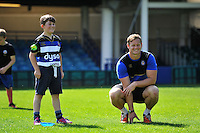 Chris Cook of Bath Rugby runs the kicking clinic. Bath Rugby Family Festival of Rugby, on August 8, 2015 at the Recreation Ground in Bath, England. Photo by: Patrick Khachfe / Onside Images