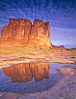 Courthouse Towers & Pool, Arches National Park, Utah  Reflection in rainwater pond