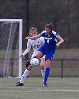 Hofstra University forward Salma Tarik (8) traps the ball as Boston College midfielder Zoe Lombard (20) pressures. Boston College defeated Hofstra University, 3-1, in second round NCAA tournament match at Newton Soccer Field, Newton, MA.