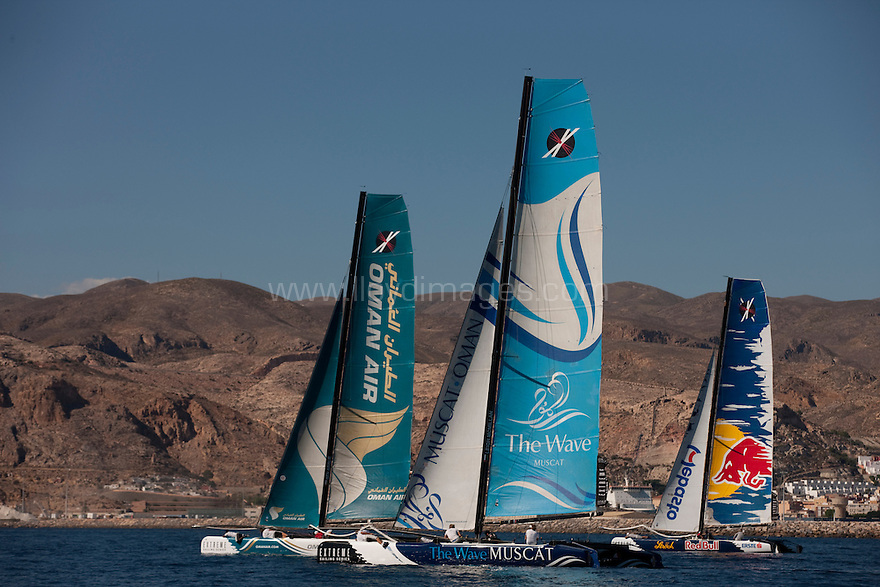 13th October 2011. Extreme Sailing Series 2011 - Act 8. Almeria. Spain.The Wave Muscat skippered by Leigh McMillan and Oman Air skippered by Ben Ainslie