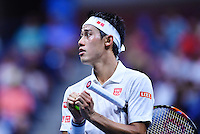NEW YORK, USA - SEPT 09, Kei Nishikori of Japan reacts after losing a point against Stan Wawrinka of Switzerland during their Men's Singles Semifinal Match of the 2016 US Open at the USTA Billie Jean King National Tennis Center on September 9, 2016 in New York.  photo by VIEWpress