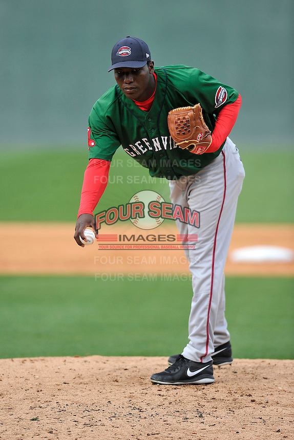 Victor Diaz (32) of the Greenville Drive in a team workout on Wednesday, April 6, 2016, at Fluor Field at the West End in Greenville, South Carolina. (Tom Priddy/Four Seam Images)