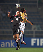 Jared Watts heads the ball. Spain defeated the U.S. Under-17 Men National Team  2-1 at Sani Abacha Stadium in Kano, Nigeria on October 26, 2009.