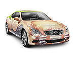 2010 Infiniti G37 Coupe with hand painted body Anniversary Art Project. Isolated car on white background with clipping path.