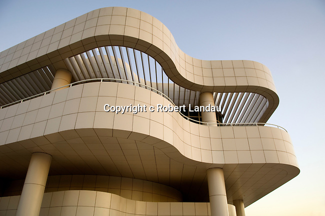 Architectural detail of theGetty Center for the Arts in Los Angeles, CA