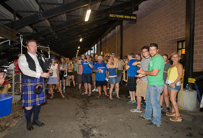 Rangers fans making the most of the rain break
