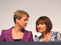 &copy; Licensed to London News Pictures. 28/09/2011. LONDON, UK. L-R) Yvette Cooper, Shadow Home Secretary talks to Tessa Jowell, Shadow Secretary of State for the Cabinet Office, at The Labour Party Conference in Liverpool today (28/09/11). Photo credit:  Stephen Simpson/LNP