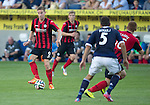 FC Luzern v St Johnstone...17.07.14  Europa League 2nd Round Qualifier<br /> Steven MacLean holds the ball up<br /> Picture by Graeme Hart.<br /> Copyright Perthshire Picture Agency<br /> Tel: 01738 623350  Mobile: 07990 594431