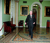 United States Senator Daniel Patrick Moynihan (Democrat of New York) walks in the hall outside the Senate Chamber in the U.S. Capitol in Washington, D.C. on his way to hear the House Managers present their case against U.S. President Bill Clinton on January 14, 1999..Credit: Ron Sachs / CNP
