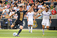 Sebastien Le Toux (9) of the Philadelphia Union  takes a shot during a Major League Soccer (MLS) match against the Kansas City Wizards at PPL Park in Chester, PA, on September 04, 2010.