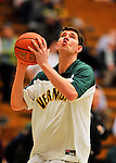 29 January 2012: University of Vermont Catamount center Pat Bergmann, a Senior from Burlington, VT, warms up prior to facing the University of New Hampshire Wildcats at Patrick Gymnasium in Burlington, Vermont. The Catamounts defeated the Wildcats 77-60 in America East play. Mandatory Credit: Ed Wolfstein Photo