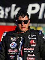 Feb 8, 2015; Pomona, CA, USA; NHRA pro stock driver Drew Skillman during the Winternationals at Auto Club Raceway at Pomona. Mandatory Credit: Mark J. Rebilas-
