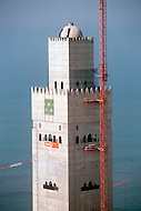 March 10, 1989, Casablanca, Marocco. View from the top of the crane of the Hassan II Mosque under construction . The mosque was completed in 1993.