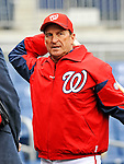 2 April 2011: Washington Nationals Manager Jim Riggleman watches his team take batting practice prior to a game against the visiting Atlanta Braves at Nationals Park in Washington, District of Columbia. The Nationals defeated the Braves 6-3 in the second game of their season opening series. Mandatory Credit: Ed Wolfstein Photo