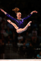 September 7, 2007; Stuttgart, Germany;  Anastasia Liukin of USA split leaps on balance beam during All-Around final in women's artistic gymnastics at 2007 World Championships.  Photo by Copyright 2007 by Tom Theobald.