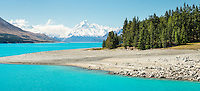 Lake Pukaki with its turquoise glacial waters, Aoraki, Mt. Cook National Park, Mackenzie Country, UNESCO World Heritage Area, South Island, New Zealand, NZ