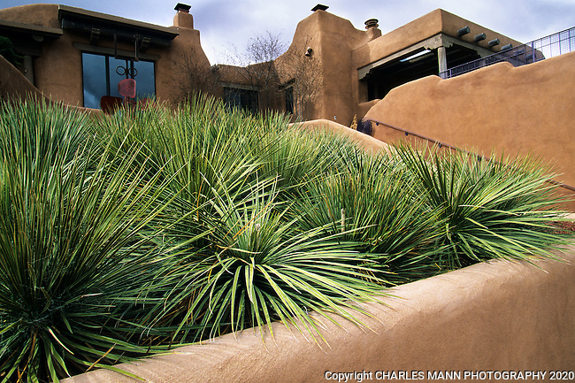 Designed by Martha Schwartz of Boston, the garden of Nancy Dickenson n Santa Fe has a number of modernistic elements inclding colored walls and tile embellished canals and fountains.