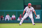 20 May 2014: Washington Nationals outfielder Denard Span takes a lead off first during play against the Cincinnati Reds at Nationals Park in Washington, DC. Span tied his career high of going 5 for 5 as the Nationals defeated the Reds 9-4 to take the second game of their 3-game series. Mandatory Credit: Ed Wolfstein Photo *** RAW (NEF) Image File Available ***