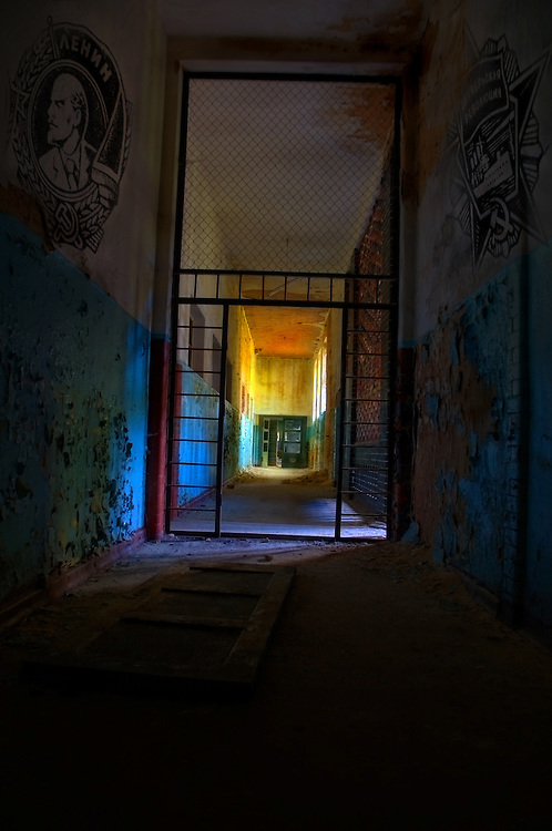 Dark interior corridor of an old mental hospital in Russia