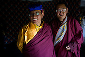 His Holiness the Twelfth Gyalwang Drukpa, the head of the Drukpa Lineage and with His Eminence Kunga Rinpoche (right) pose for a portrait at the Hemis Monastery in Leh, Ladakh, India.
