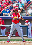 13 March 2016: St. Louis Cardinals infielder David Washington in action during a pre-season Spring Training game against the Washington Nationals at Space Coast Stadium in Viera, Florida. The teams played to a 4-4 draw in Grapefruit League play. Mandatory Credit: Ed Wolfstein Photo *** RAW (NEF) Image File Available ***