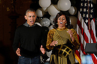 United States President Barack Obama and first lady Michelle Obama dance on the Michael Jackson's song &quot; thriller&quot; during a Halloween event in the East Room of the White House October 31, 2016 in Washington, DC. The first couple hosted local children and children of military families for trick-or-treating at the White House.<br /> Credit: Olivier Douliery / Pool via CNP /MediaPunch
