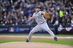 CHICAGO - October 6:  Andy Sonnastine of the Tampa Bay Rays pitches during the game against the Chicago White Sox at U.S. Cellular Field in Chicago, Illinois on October 6, 2008.  The Rays defeated the White Sox 6-2 to advance to the ALCS.  (Photo by Ron Vesely)