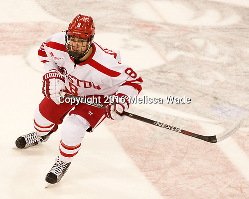 Ryan Cloonan (BU - 8) The Boston University Terriers defeated the visiting Yale University Bulldogs 5-2 on Tuesday, December 13, 2016, at the Agganis Arena in Boston, Massachusetts.