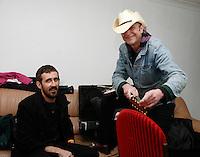 Gareth Liddiard and Spencer P Jones at the Winterlong Benefit Concert for the Sophia Mundie Steiner School, held at the Thornbury Theatre, 30 August 2009.