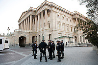 Capitol Police officers gather outside the U.S. Capitol in preparation for President Barack Obama's State of the Union address on Tuesday, January 24, 2012 in Washington, DC.