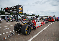Aug 19, 2016; Brainerd, MN, USA; NHRA top fuel driver Shawn Langdon during qualifying for the Lucas Oil Nationals at Brainerd International Raceway. Mandatory Credit: Mark J. Rebilas-USA TODAY Sports