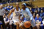 24 January 2016: North Carolina's Destinee Walker (24) and Duke's Oderah Chidom (22). The Duke University Blue Devils hosted the University of North Carolina Tar Heels at Cameron Indoor Stadium in Durham, North Carolina in a 2015-16 NCAA Division I Women's Basketball game. Duke won the game 71-55.