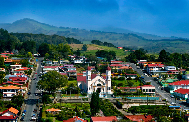 Elevated View Of The Iglesia de San Rafael And Surrounding Area Of The Town Of Zarcero, Costa Rica.