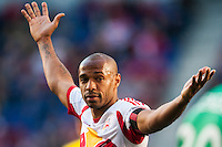 Thierry Henry (14) of the New York Red Bulls looks for goalkeeper Andy Gruenebaum (30) of the Columbus Crew to hurry up. The New York Red Bulls and the Columbus Crew played to a 2-2 tie during a Major League Soccer (MLS) match at Red Bull Arena in Harrison, NJ, on May 26, 2013.