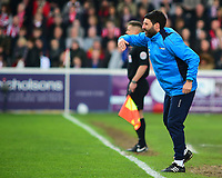 Lincoln City manager Danny Cowley shouts instructions to his team from the dug-out<br /> <br /> Photographer Andrew Vaughan/CameraSport<br /> <br /> Vanarama National League - Lincoln City v Macclesfield Town - Saturday 22nd April 2017 - Sincil Bank - Lincoln<br /> <br /> World Copyright &copy; 2017 CameraSport. All rights reserved. 43 Linden Ave. Countesthorpe. Leicester. England. LE8 5PG - Tel: +44 (0) 116 277 4147 - admin@camerasport.com - www.camerasport.com