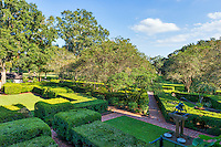 We took this view of the gardens from the balcony of the mansion at Oak Alley.  The bell is rung on the half hour.