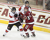 Lori Antflick (NU - 77), Alisa Baumgartner (Harvard - 27), Maggie DiMasi (NU - 4) - The Harvard University Crimson defeated the Northeastern University Huskies 4-3 (SO) in the opening round of the Beanpot on Tuesday, February 8, 2011, at Conte Forum in Chestnut Hill, Massachusetts.