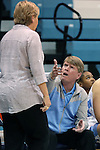 02 November 2016: UNC assistant coach Andrew Calder (right) talks to head coach Sylvia Hatchell (left). The University of North Carolina Tar Heels hosted the Carson-Newman University Lady Eagles at Carmichael Arena in Chapel Hill, North Carolina in a 2016-17 NCAA Women's Basketball exhibition game. UNC won the game 96-70.