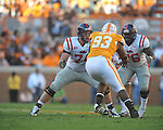Ole Miss offensive lineman Jared Duke (74) and Ole Miss guard A.J. Hawkins (76) blocks Tennessee defensive tackle Montori Hughes (93) in a college football game at Neyland Stadium in Knoxville, Tenn. on Saturday, November 13, 2010. Tennessee won 52-14.
