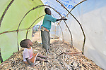 Nyazela Kapitolice builds a hut for her family in a camp in rebel-held territory in the eastern Congo. Families displaced by fighting between rebel Tutsi General Laurent Nkunda and the Congolese military took refuge in this camp they established in the shadow of a United Nations base in the village of Kiwanja. According to aid workers and human rights groups, rebel soldiers executed some 150 people here in a 24-hour period in early November. The killings took place half a mile from the UN base, yet the 120 UN peacekeepers, part of the largest UN peacekeeping contingent in the world, did not take any action to stop the violence. ..