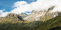 Stunning views of Ailsa Mountains with beech forest in foreground, Fiordland National Park, UNESCO World Heritage Area, Southland, New Zealand, NZ