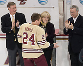 Dave Arnold, Bill Arnold (BC - 24), Kirk Arnold, Tom Peters (BC - Senior Associate AD) - The visiting University of Notre Dame Fighting Irish defeated the Boston College Eagles 2-1 in overtime on Saturday, March 1, 2014, at Kelley Rink in Conte Forum in Chestnut Hill, Massachusetts.