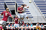31 August 2014: Elon's Jonathan Coleby (ENG) (2) and Loyola-Marymount's Dylan Seedman (right). The Elon University Phoenix played the Loyola Marymount University Lions at Koskinen Stadium in Durham, North Carolina in a 2014 NCAA Division I Men's Soccer match. Elon won the game 1-0.